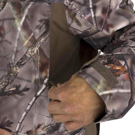 HUNTING WARM WATERPROOF JACKET 500 - CAMOUFLAGE BROWN
