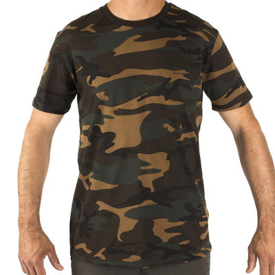 100 Short-Sleeve Hunting T-Shirt - Camouflage Woodland Green