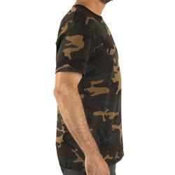 Camiseta de caza de manga corta 100 camuflaje Woodland verde