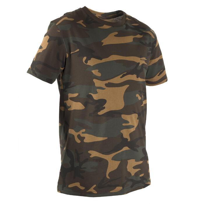 T-shirt de Caça 100 Camuflado Woodland Verde