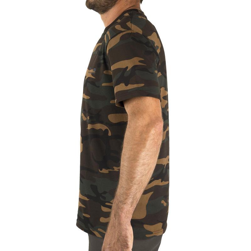 เสื้อยืดแขนสั้นสำหรับส่องสัตว์รุ่น 100 (สีเขียวลายพราง)