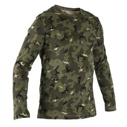 T-shirt Steppe 100 met lange mouwen camouflage Island