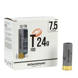 CARTOUCHE BALL TRAP T100 24g CALIBRE 12/70 PLOMB N°7,5 X25