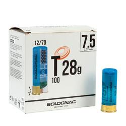 CARTUCHO BALL TRAP T100, 28g CAL12/70PLOMO N.º7,5 X250
