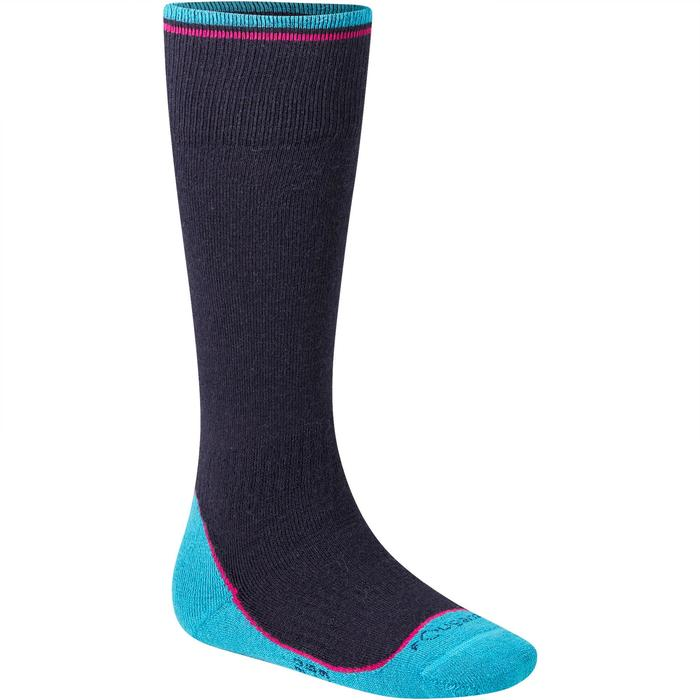 Chaussettes chaudes équitation fille bleu marine/rose