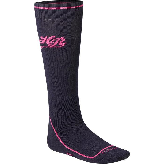Chaussettes chaudes équitation femme motif HR bleu marine/rose