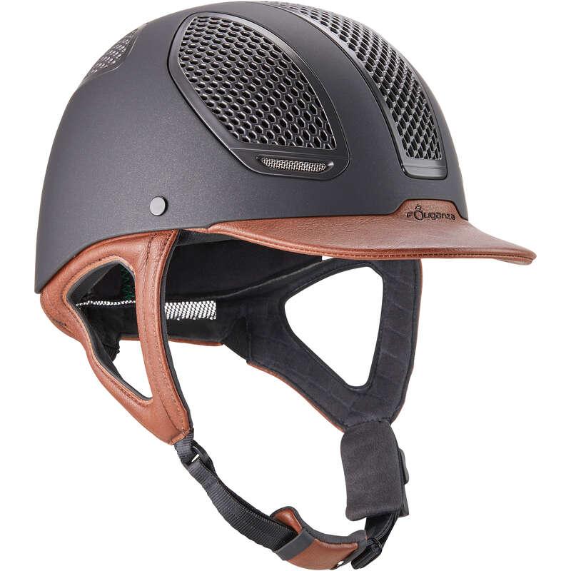RIDER HELMETS Horse Riding - C900 Sport Helmet Black/Brown FOUGANZA - Horse Riding