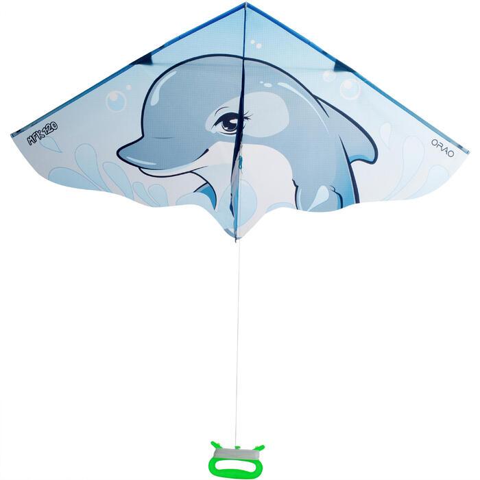 Cometas Monohilo Playa Orao Para Niños MFK 120 Azul/Gris/Blanco Delfín