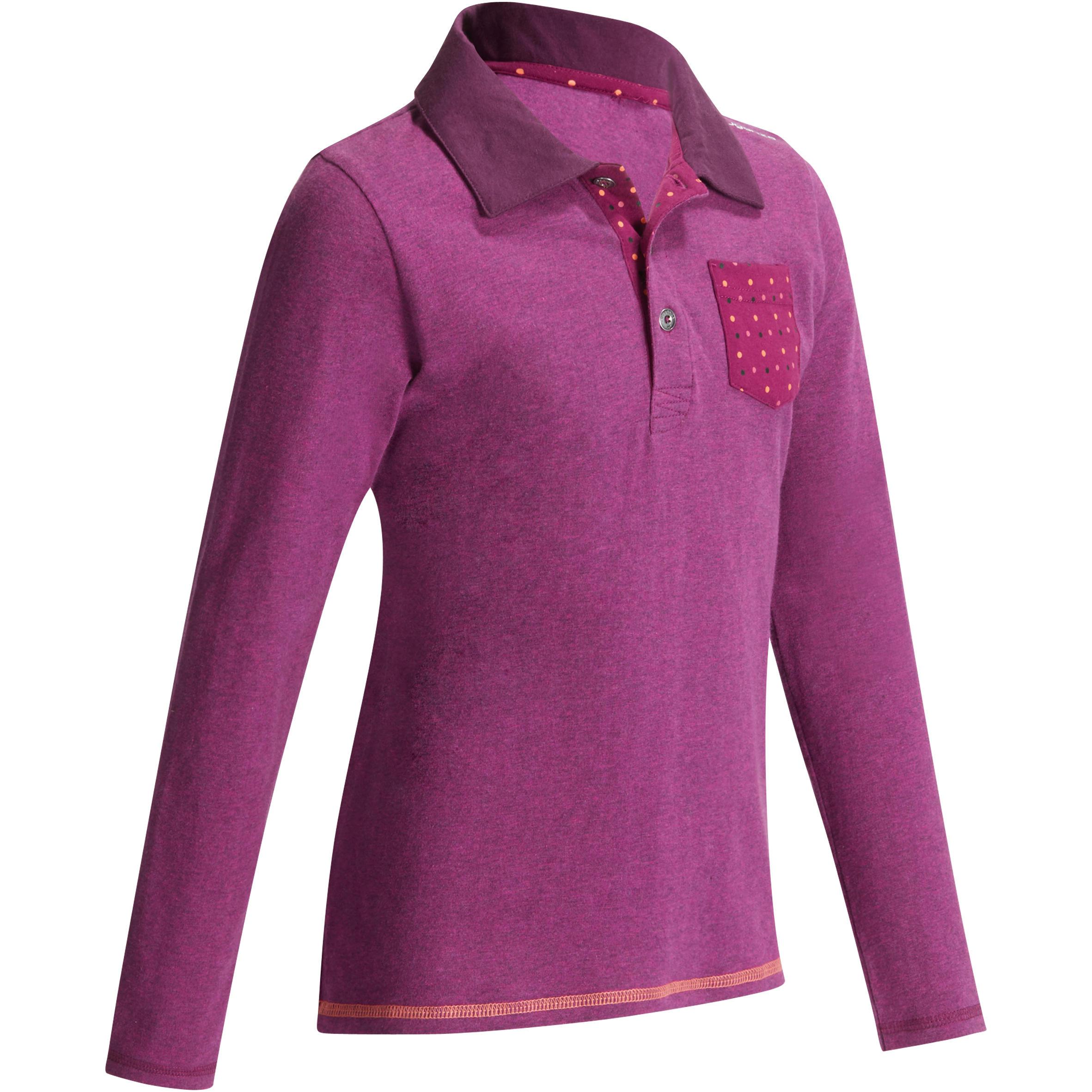Fouganza Meisjespolo met lange mouwen ruitersport paars zakje stipjesprint