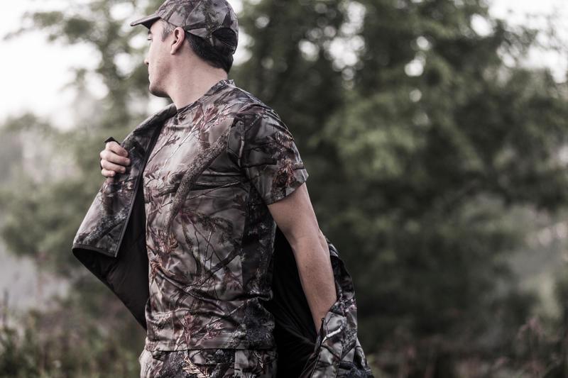 100 Breathable Short Sleeve Hunting T-shirt - Woodland Camo