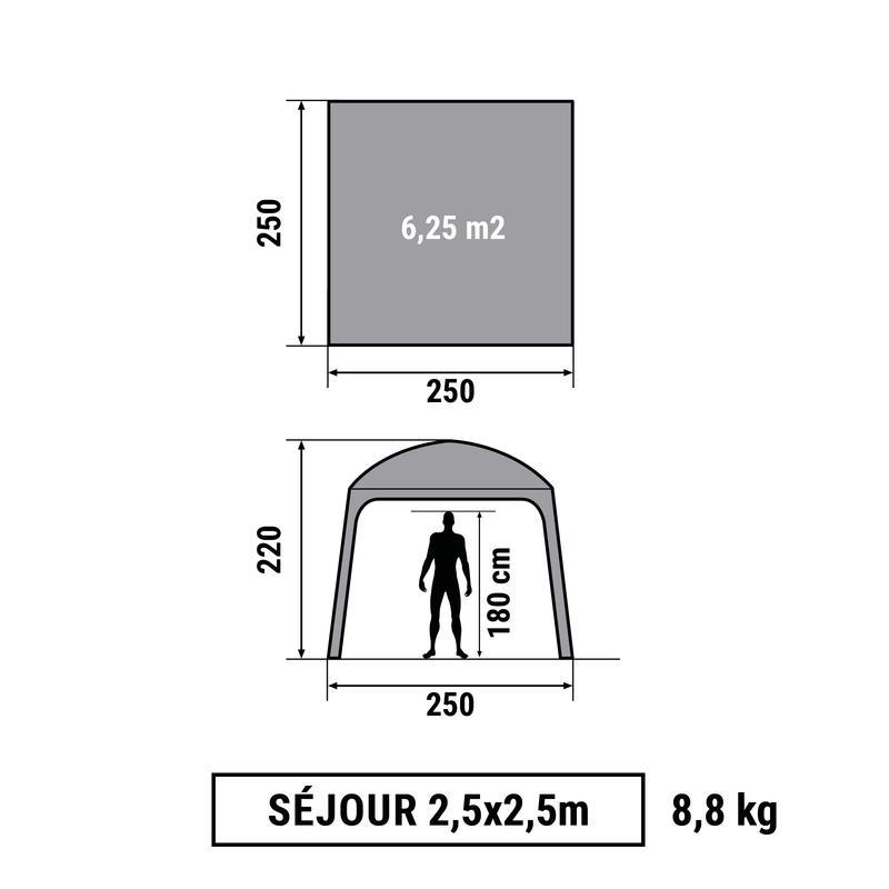 LỀU TẠM CẮM TRẠI / TRẠI LEO NÚI DÃ NGOẠI 2.5mx 2.5m CHO 6 NGƯỜI - XÁM GRANITE