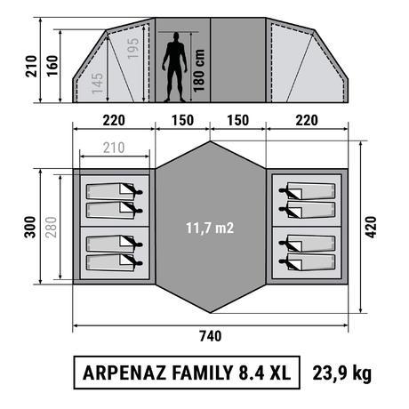 tente de camping familiale arpenaz 8 4 xl 8 personnes quechua. Black Bedroom Furniture Sets. Home Design Ideas