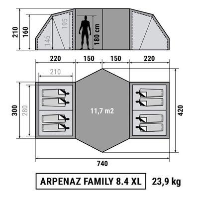 Каркасний намет ARPENAZ 8.4 _PIPE_ 8-місний, 4 спальні