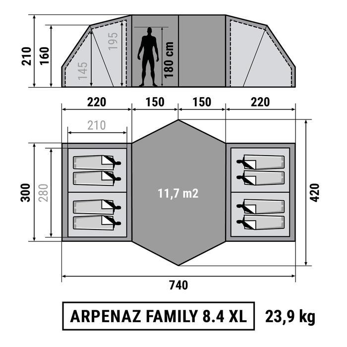 Tente de camping familiale Arpenaz 8.4 xl  | 8 personnes - 1210880