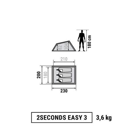 Tente de camping 2 SECONDES | 3 personnes bleue (Version US)