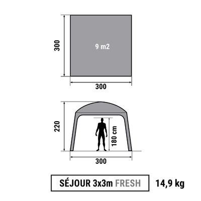 מחסה עם דלתות: מחסה Arpenaz 3x3 ל-10 אנשים. דירוג הגנה SPF50+ - לבן רענן