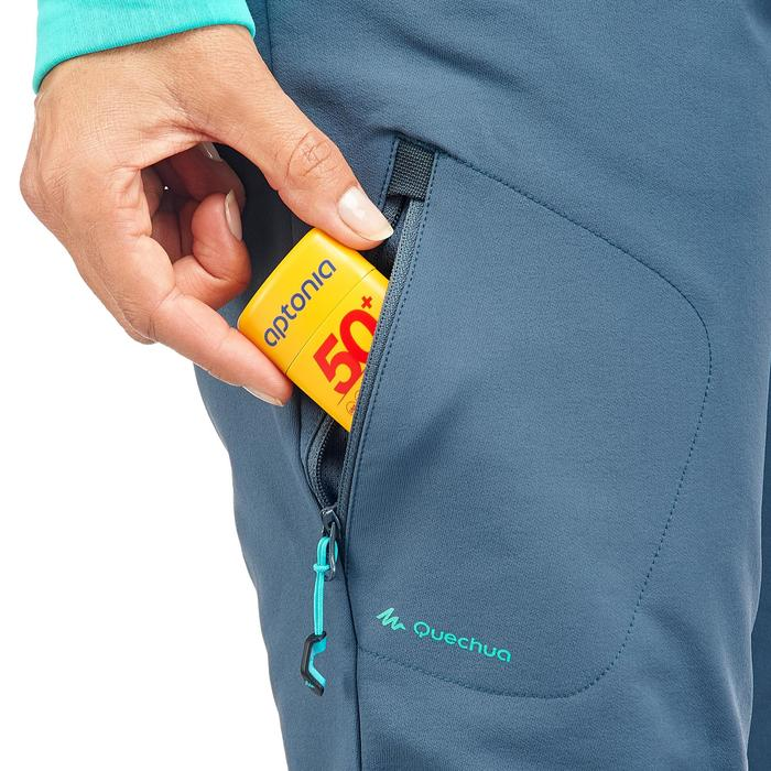 女款保暖彈性雪地健行長褲SH500-湛藍色