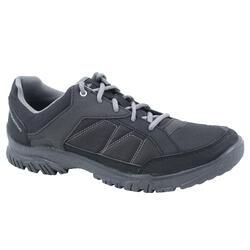 男耐磨緩震健行登山鞋NH100 - 黑色