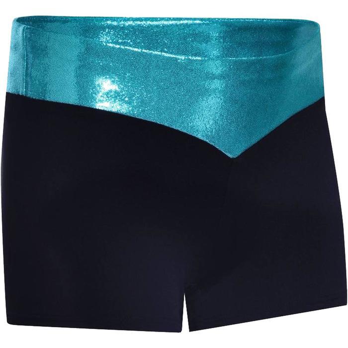Shorty Gym Féminine (GAF et GR) paillettes noir/turquoise.
