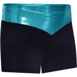 Malla short de gimnasia femenina (GAF y GR) lentejuelas negro/turquesa