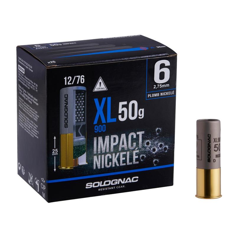 CARTOUCHE XL900 50g IMPACT CALIBRE 12/76 PLOMB NICKELE N°6 X25