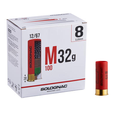 CARTOUCHE M100 32g CALIBRE 12/67 PLOMB N°8 X 25