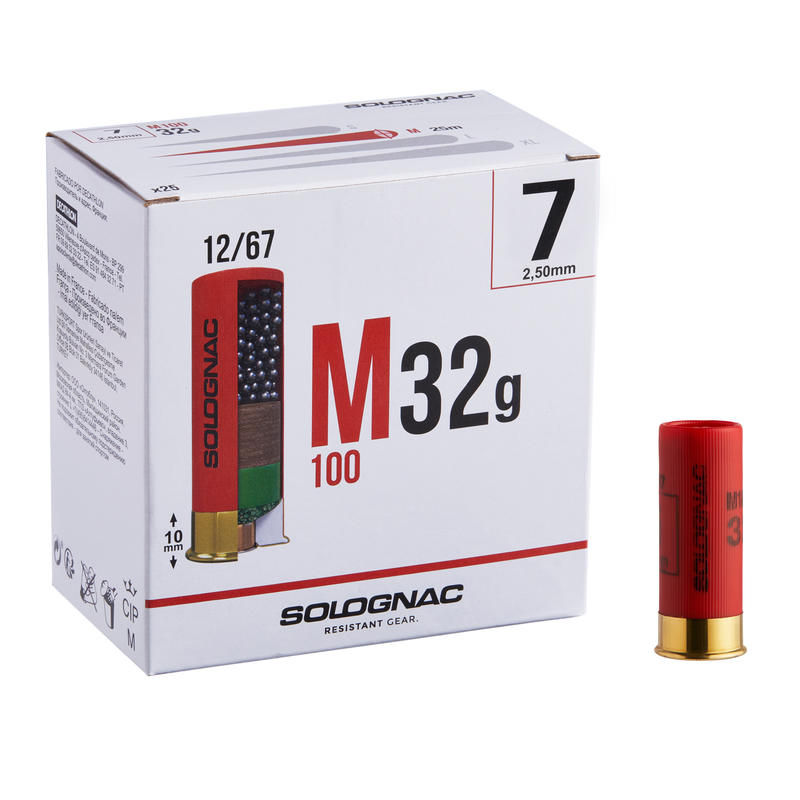 CARTOUCHE M100 32g CALIBRE 12/67 PLOMB N°7 X 25