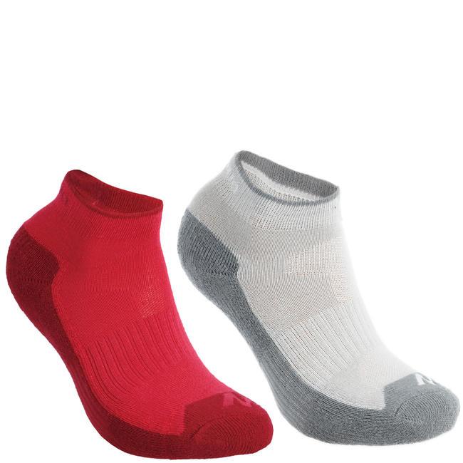 MH100 Children's Mid-Length Hiking Socks 2-Pack - Pink/Grey.