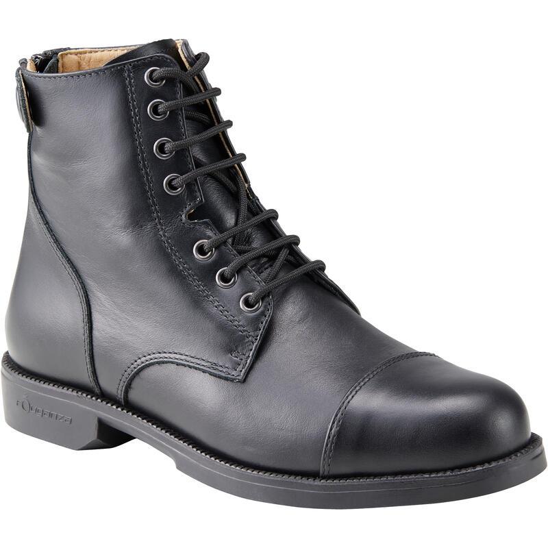 Bottes à lacets équitation adulte PADDOCK 560 cuir noir