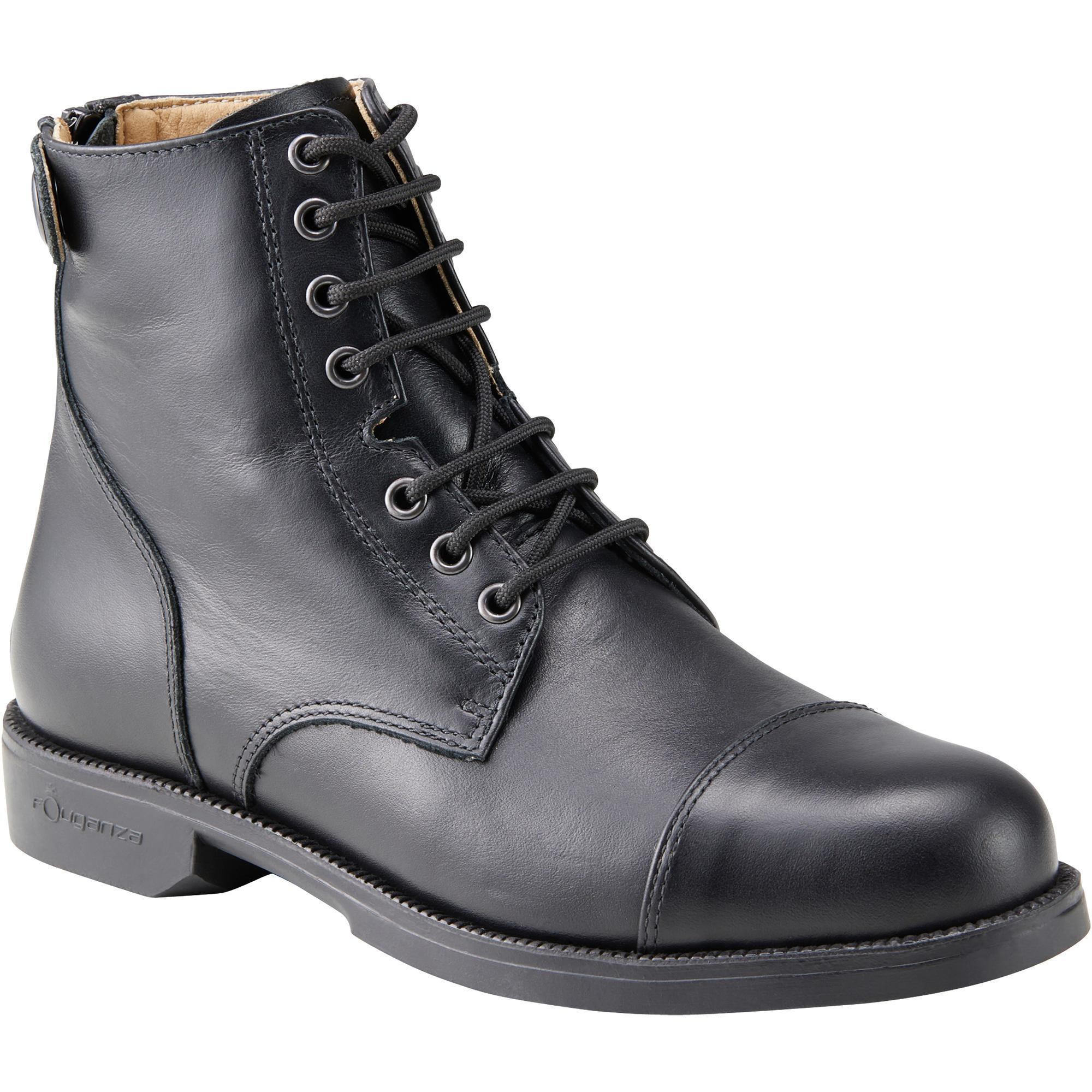 Reitstiefeletten Paddock 560 geschnürt Leder Erwachsene schwarz   Schuhe > Sportschuhe > Reitstiefel   Schwarz   Leder   Fouganza