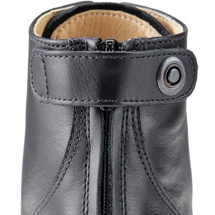 成人款皮革綁帶馬靴Paddock 560-黑色