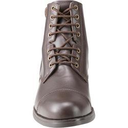 成人款皮革綁帶短馬靴Paddock 560-棕色