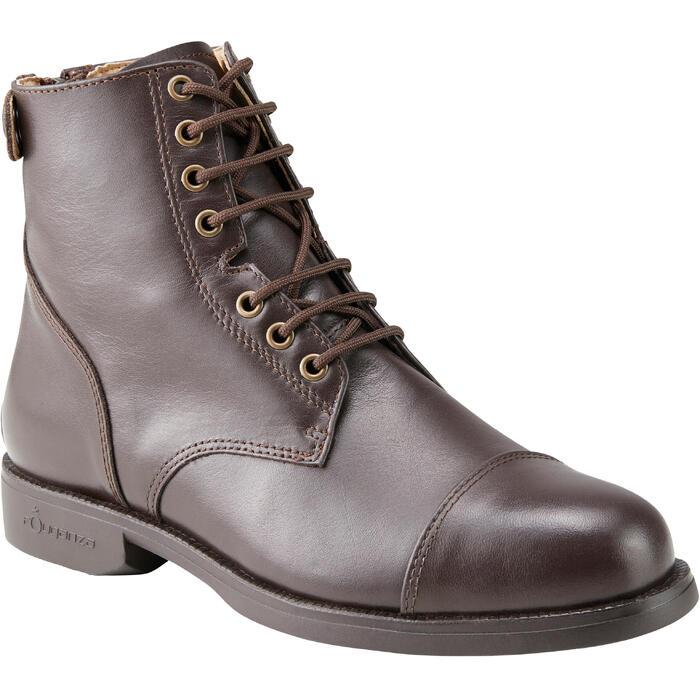 Boots équitation adulte PADDOCK 500 LACETS marron - 1214079