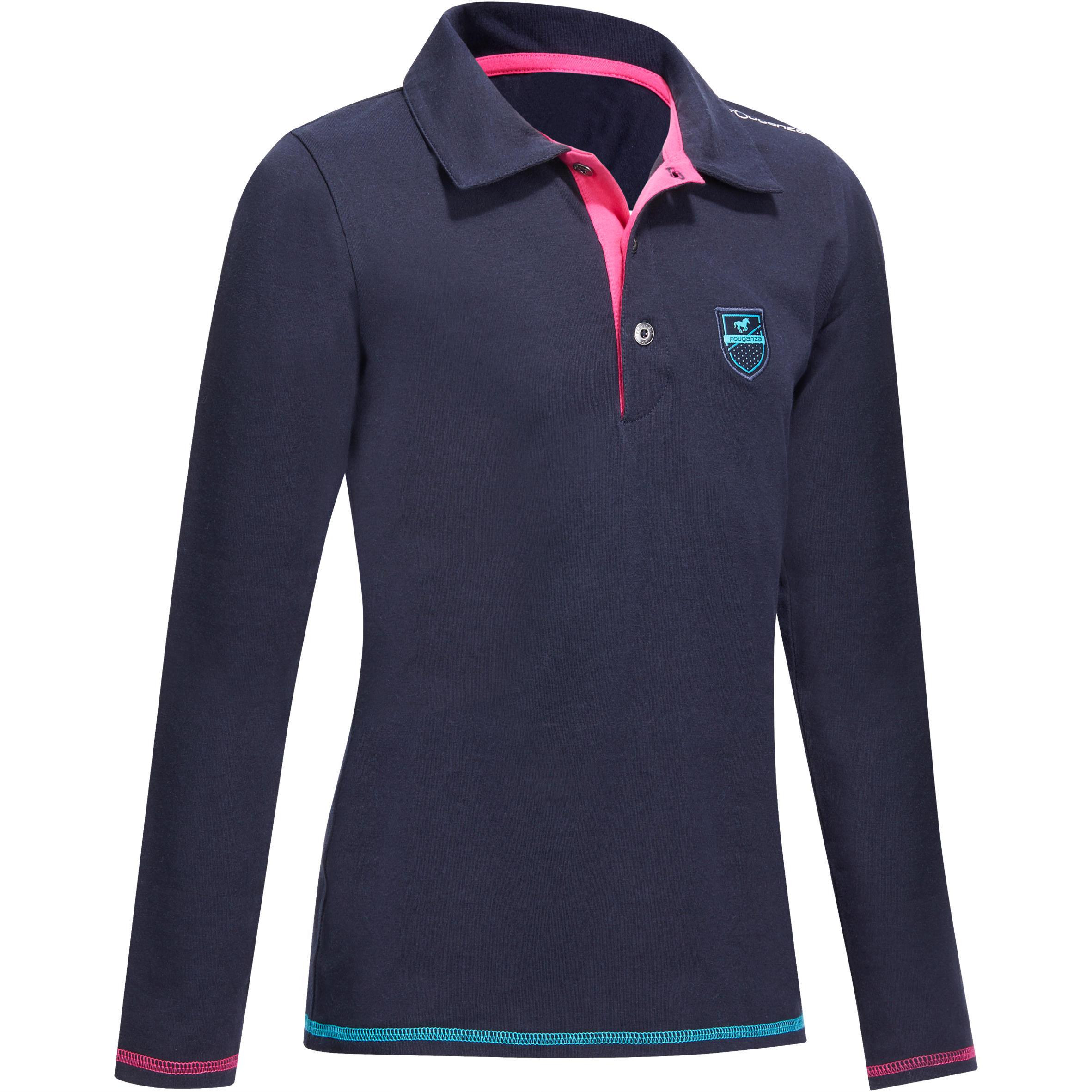 Fouganza Meisjespolo met lange mouwen voor ruitersport marineblauw met borduursel HR