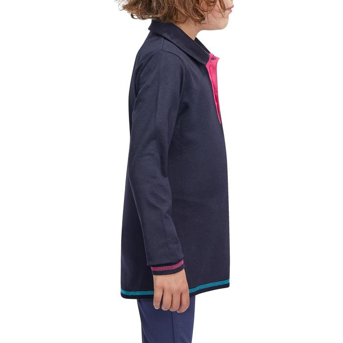 Polo manches longues équitation fille bleu marine broderie HR - 1214098