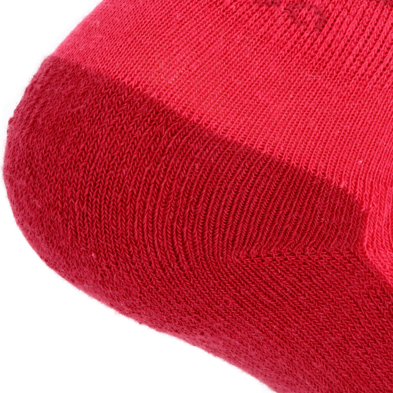 Calcetines de senderismo niños MH100 media caña Rosa/Gris lote de 2 pares