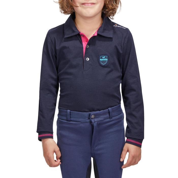 Polo manches longues équitation fille bleu marine broderie HR - 1214103