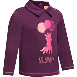 Polo équitation baby manches longues prune motif poney