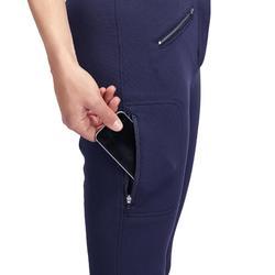 Pantalon chaud équitation femme VICTORIA fond de peau bleu marine