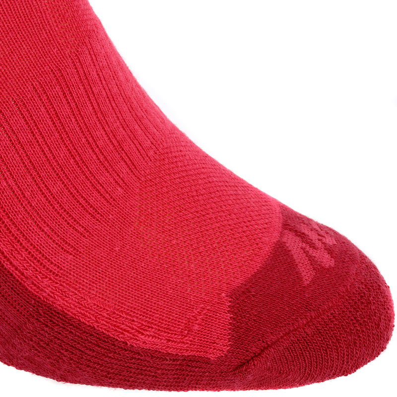 Kids' Mid-height Hiking Socks MH100 2-pack Pink/Grey.