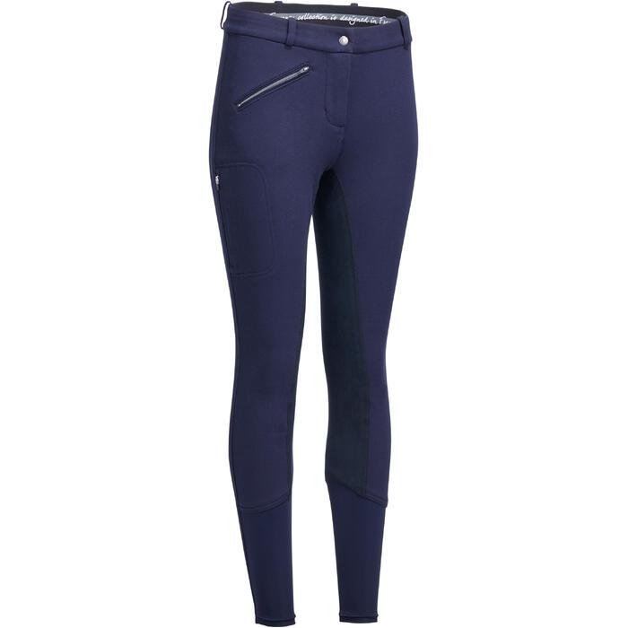 Pantalon chaud équitation femme VICTORIA fond de peau bleu marine - 1214321