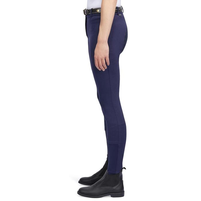 Pantalon chaud équitation femme VICTORIA fond de peau bleu marine - 1214329