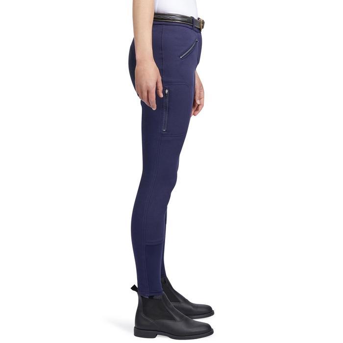 Pantalon chaud équitation femme VICTORIA fond de peau bleu marine - 1214331