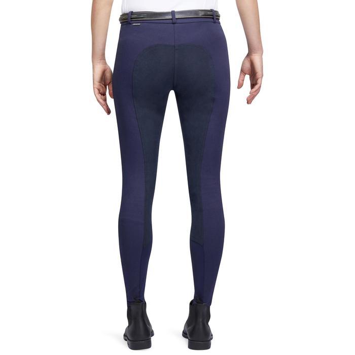 Pantalon chaud équitation femme VICTORIA fond de peau bleu marine - 1214334