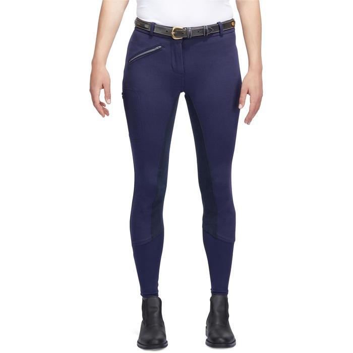 Pantalon chaud équitation femme VICTORIA fond de peau bleu marine - 1214335