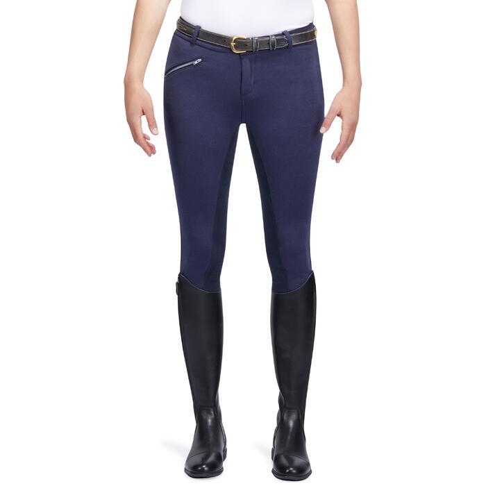 Pantalon chaud équitation femme VICTORIA fond de peau bleu marine - 1214336
