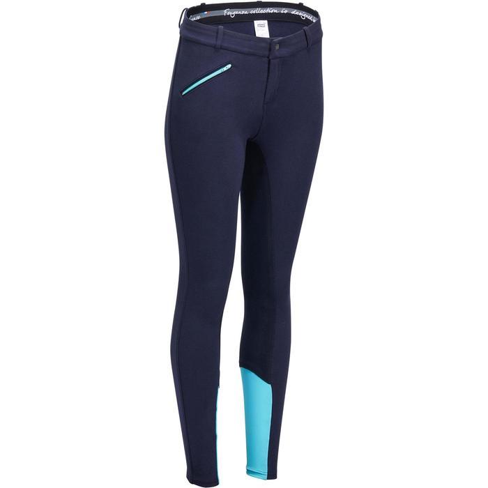 Pantalón badanas equitación mujer BR180 fullseat azul marino