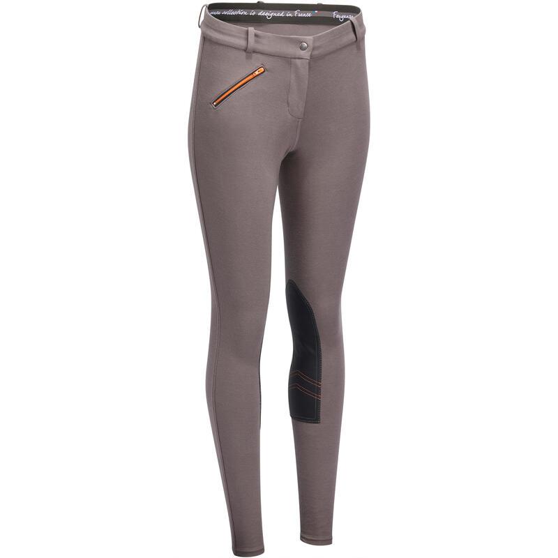 Pantalon équitation femme 140 basanes agrippantes marron