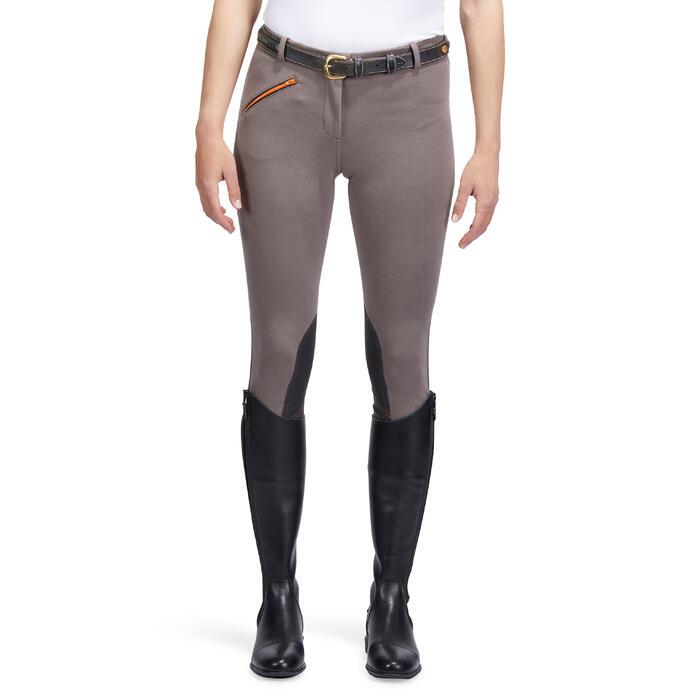Pantalón equitación mujer 140 badanas adherentes marrón