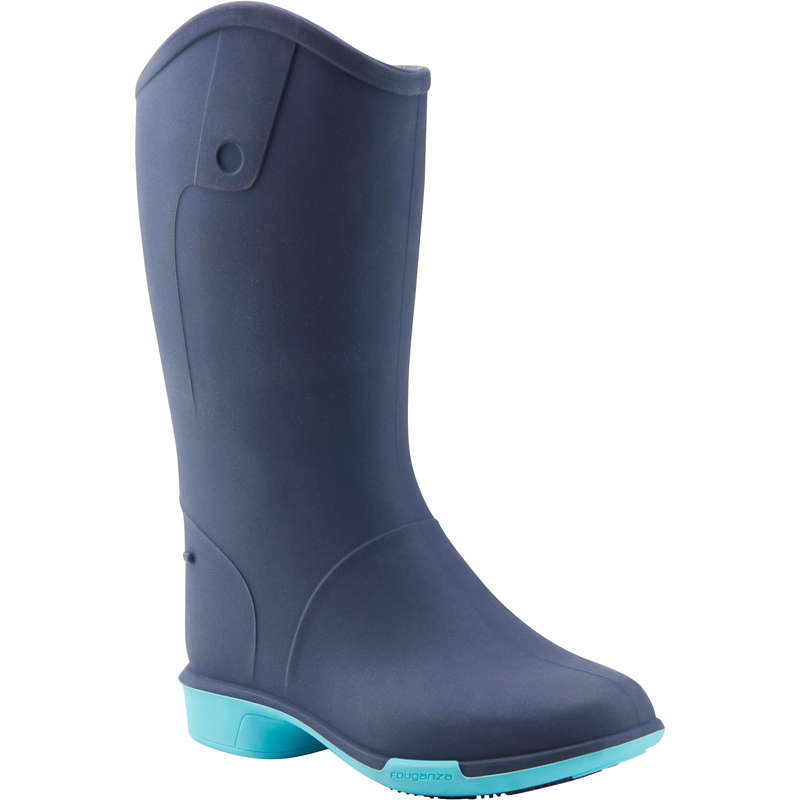 LONG RIDING BOOTS & ACCESSORIES Horse Riding - 100 Baby Boots - Navy FOUGANZA - Horse Riding Footwear